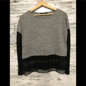 Zara Long sleeve top with embellished sheer hem